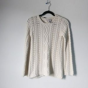 Max Studio L Ivory Open Back Cable Knit Sweater